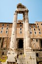 Roman Forum. Temple of Vespasian and Titus Royalty Free Stock Photo