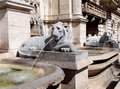 Roman fountain ancient with lions sculpture in rome italy Stock Photos