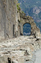 Roman gaul road and its arch bc Stock Image