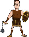 Roman gladiator on a white background Stock Image