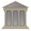 Roman greek temple with ionic columns high detailed with outline Stock Image