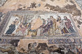 Roman heritage site in paphos cyprus ancient mosaics at the archaeological helenistic and at kato Stock Image