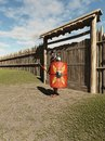 Roman legionary fort guard imperial guarding the gate to a d digitally rendered illustration Royalty Free Stock Photos