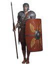 Roman legionary on guard soldier of the empire wearing lorica segmentata armour and carrying a spear and shield d digitally Royalty Free Stock Images