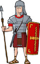 Roman legionary on a white background Stock Photography