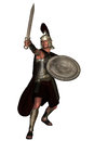 Roman legionnaire brandishing sword Stock Photo