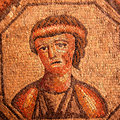 Roman mosaic portrait of a sad woman Royalty Free Stock Image