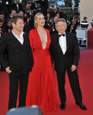 Roman polanski emmanuelle seigner mathieu amalric cannes france may director wife at the gala premiere for their movie venus in Royalty Free Stock Images