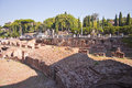 Roman remains near to the colosseum in rome italy Stock Image