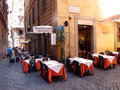 Roman restaurant typical with tables positioned along alleyways and little squares photograph taken on july Stock Image