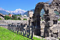 Roman ruins of aosta italy june view the in on june is the capital and largest city val d region Royalty Free Stock Photography