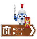 Roman ruins comical sign isolated on white background Royalty Free Stock Photo