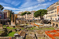 Roman ruins in rome italy rediscovering ancient the middle of modern city Royalty Free Stock Images