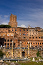 Roman ruins in rome italy rediscovering ancient the middle of modern city Royalty Free Stock Image