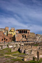 Roman ruins in rome italy rediscovering ancient the middle of modern city Stock Photography