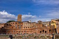 Roman ruins in rome italy rediscovering ancient the middle of modern city Royalty Free Stock Photography