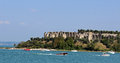 Roman ruins sirmione lake garda italy view of the beach at the north end of the peninsula at the southern end of in with the on Royalty Free Stock Photography