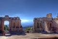 Roman ruins, vulcaono etna, Taormina, Sicily, Italy Royalty Free Stock Photo