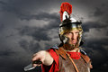 Roman Soldier Brandishing Sword Royalty Free Stock Photo