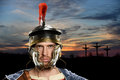 Roman Soldier With Crosses in Background Royalty Free Stock Photo