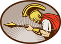 Roman soldier or gladiator attacking with spear Royalty Free Stock Photo