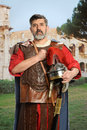 Roman Soldier Saluting Royalty Free Stock Photo