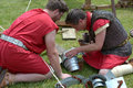 Roman soldiers repairing armour a couple of some armistice day cambridge new zealand Royalty Free Stock Photos