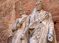 Roman statues ancient in the diocleziano archaeological site in rome italy Royalty Free Stock Images