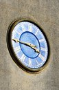 Roman style church clock blue Royalty Free Stock Photo