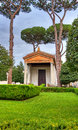 Roman temple hdr ancient garden and in rome italy Stock Photos