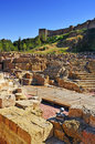 Roman theater in malaga spain with the alcazaba the background Royalty Free Stock Images