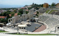 Roman theater in plovdiv bulgaria antique on a hill Royalty Free Stock Photography