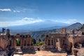 Stock Photography Roman theater, vulcaono etna, Taormina, Sicily, Italy
