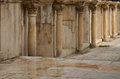 Roman theatre amman a wall and columns inside the in Stock Images