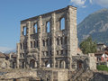 Roman theatre aosta ruins of the in aoste italy Stock Photos