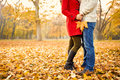 Romance in autumn in park Royalty Free Stock Photo