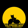 Romance blach silhouette cats against moon vector illustration Royalty Free Stock Photos