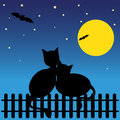 Romance blach silhouette cats against moon vector illustration Royalty Free Stock Photo