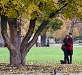 Romance at park on autumn time