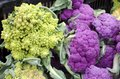 Romanesca and cauliflower purple heads for sale in the market Stock Photo