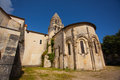 Romanesque abse and tower general view with of the chruch of abbaye aux dames in saintes france Stock Image