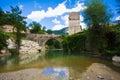 Romanesque bridge on the marche river italy Stock Photo