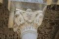 Romanesque capital detail of the basilica saccargia sardinia Stock Photography