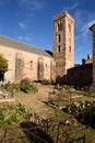 Romanesque Church of Coustouges,Pyrenees mountains, Languedoc-Ro Royalty Free Stock Photo