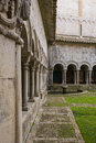 The romanesque cloister of cathedral of girona in northeastern catalonia is notable featuring a series of columns with Royalty Free Stock Images