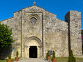 Romanesque collegiate Santa Maria of Baiona Stock Photography