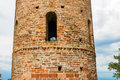 Romanesque cylindrical bell tower of countryside church viii ix centuries campanile located in the village santa maria in fabriago Royalty Free Stock Image
