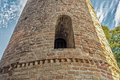 Romanesque cylindrical bell tower of countryside church viii ix centuries campanile located in the village santa maria in fabriago Stock Images