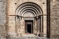 Romanesque portal of sant cristofol church in beget girona province catalonia Royalty Free Stock Photos