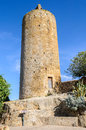 Romanesque tower in pals spain the village of catalonia Stock Photos